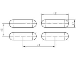Lg t1 t2 – t3 t4 - Овальные отверстия, расположенные прямыми рядами.