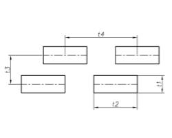 Lev t1 t2 – t3 t4 - Прямоугольные отверстия, расположенные со смещенными рядами.