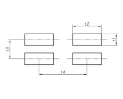 Leg t1 t2 – t3 t4 - Прямоугольные отверстия, расположенные со смещенными рядами.